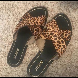 J Crew St Tropez Leopard Print Calf Hair Sandals